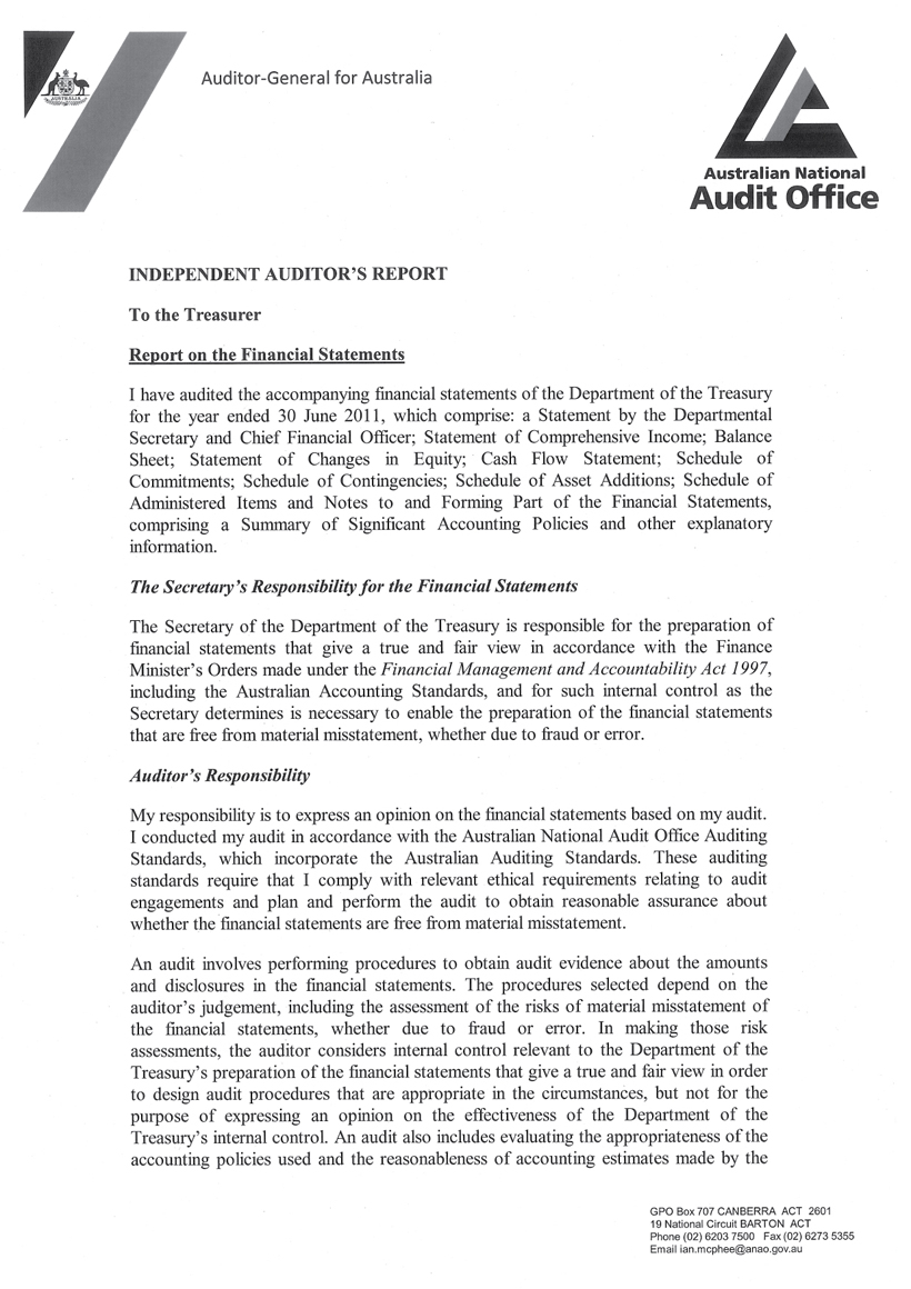 ANAO - Independent Auditor's Report