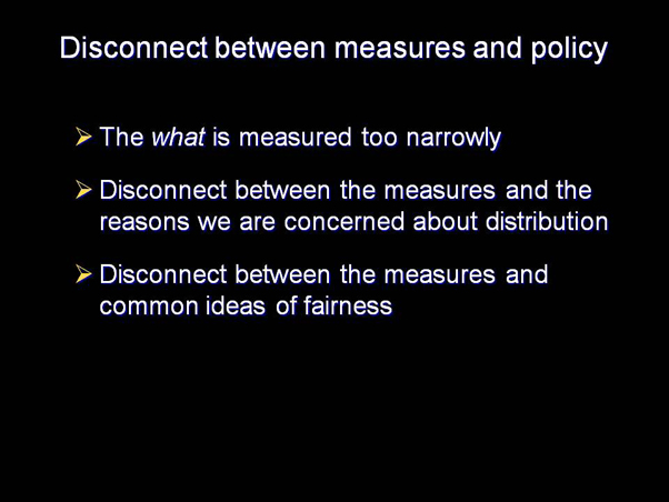 Disconnect between measures and policy