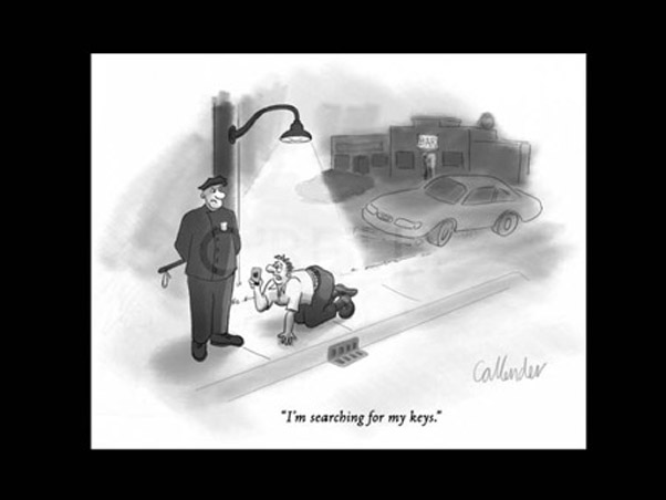 Cartoon showing a drunk man looking for his keys under the light of a lamp post