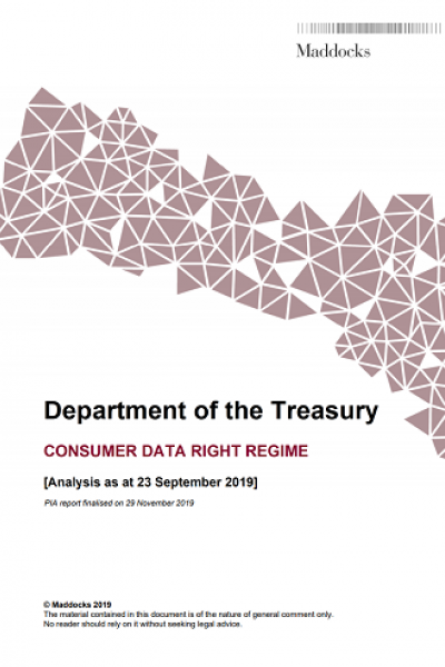 Consumer Data Right: Privacy Impact Assessment - cover page
