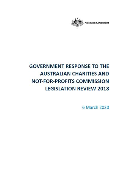 Government response to Australian Charities and Not for profits Commission legislation review